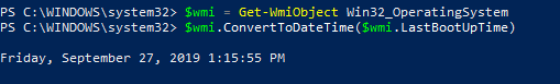 windows uptime command line