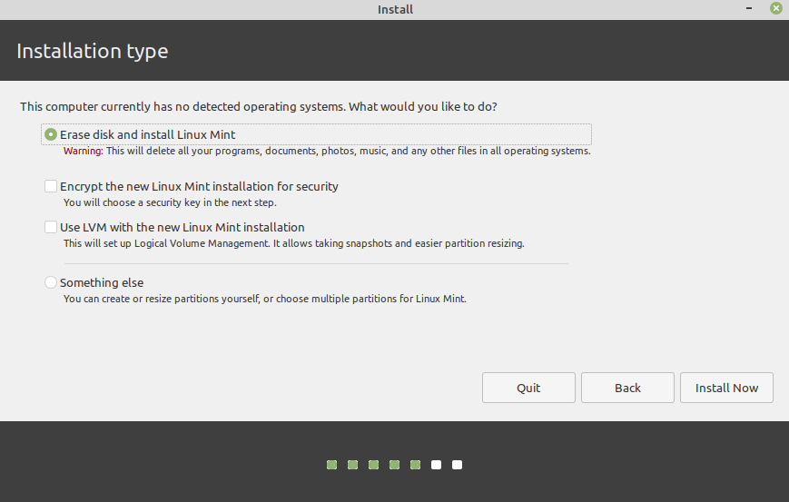 installation linux mint from usb drive