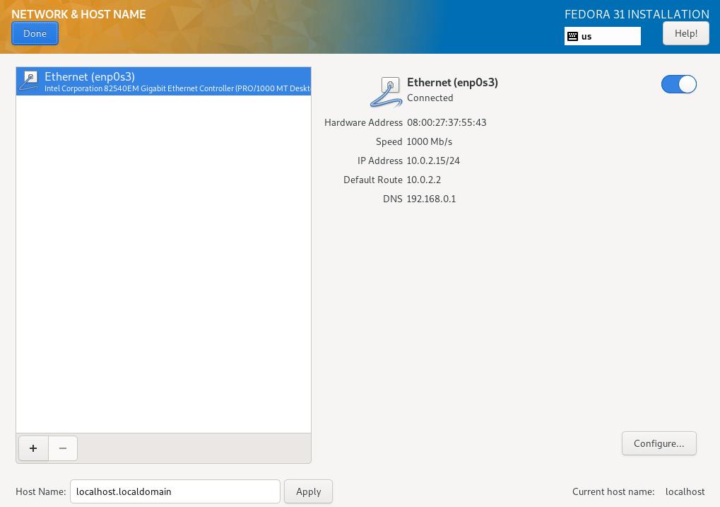 fedora 31 server install