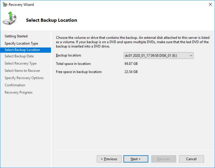 restore domain controller from backup 2019