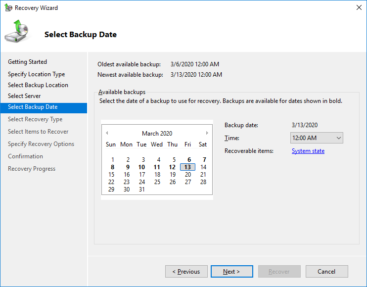 restore domain controller from backup server 2019