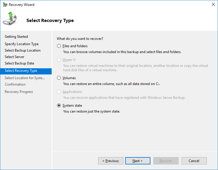 domain controller backup and restore 2016