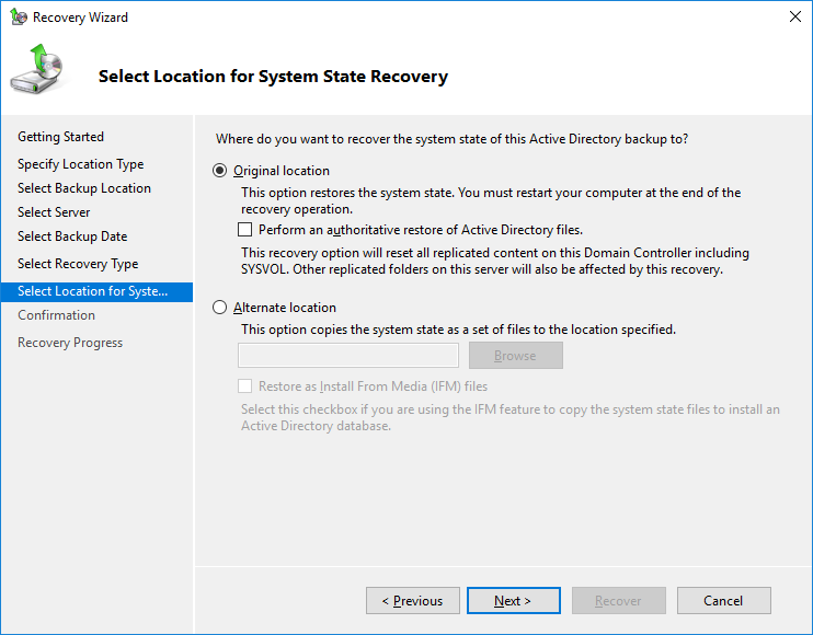domain controller backup and restore 2019