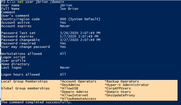 check active directory group membership command line