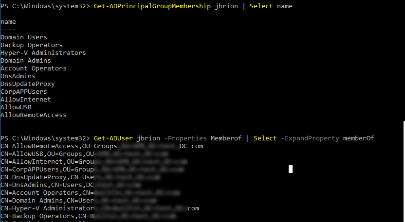 check active directory group membership with command line