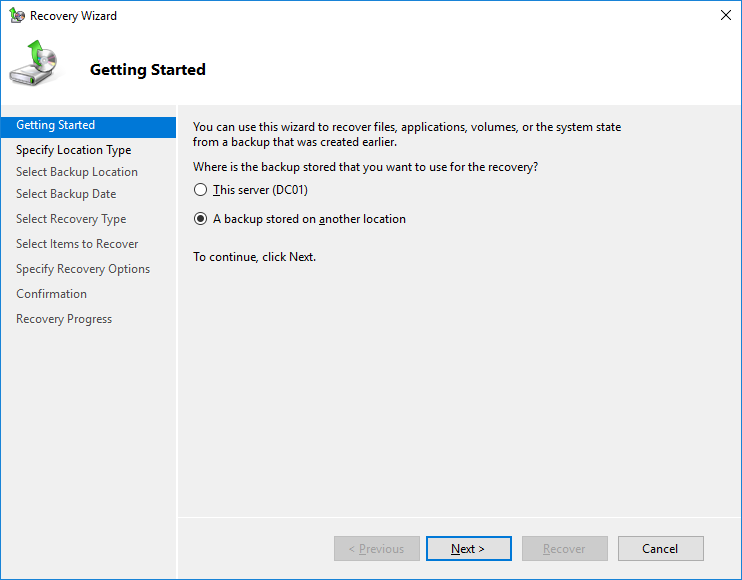domain controller restore from backup