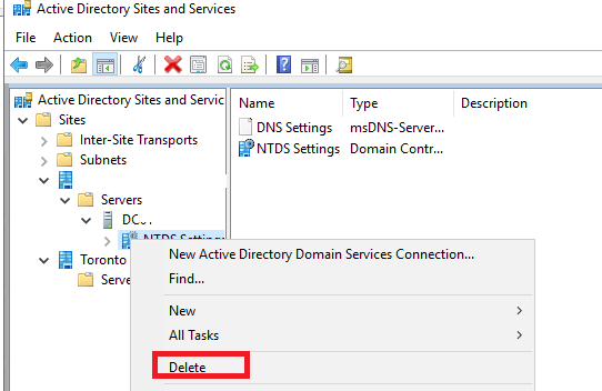 metadata cleanup using ntdsutil in windows server