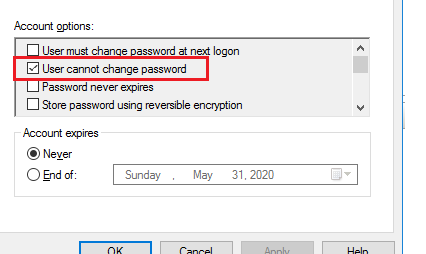 active directory user must change password at next logon
