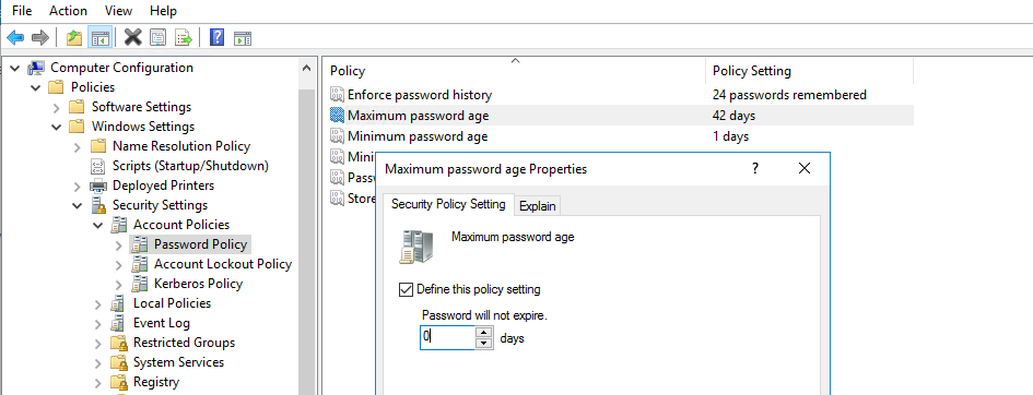 maximum password age