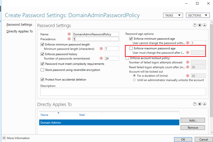 windows 10 disable password expiration