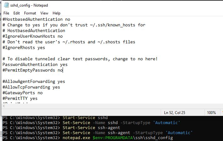 ssh windows 10 command line