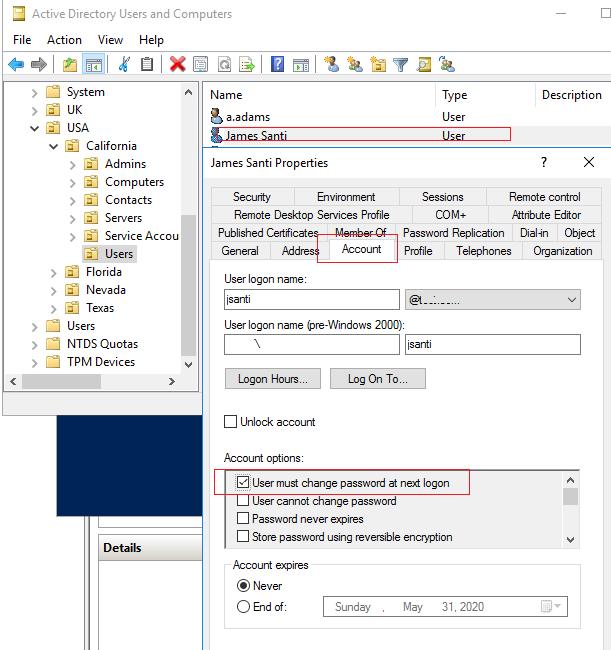 user must change password at next logon