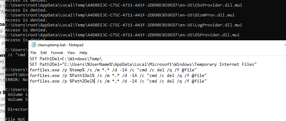 remove temporary files windows 10