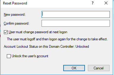 user must change password at next logon greyed out