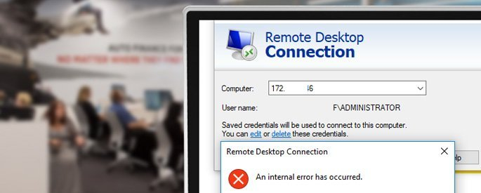 rdp an Internal Error Has Occurred