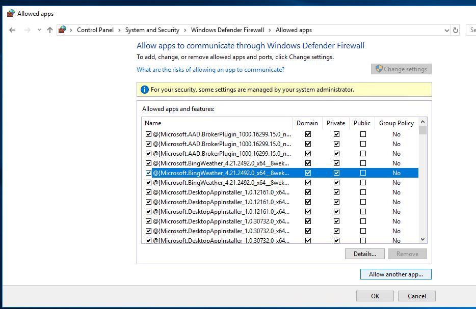 windows 10 advanced security settings