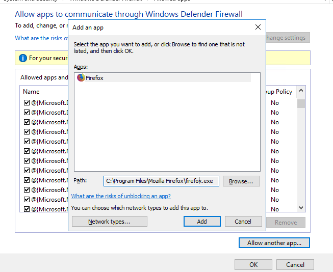 advanced firewall settings windows 10