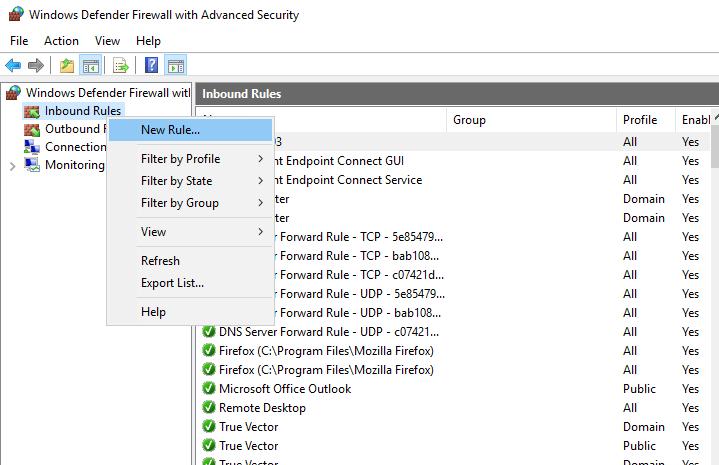 advanced firewall windows 10