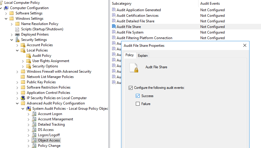 audit policy windows 10