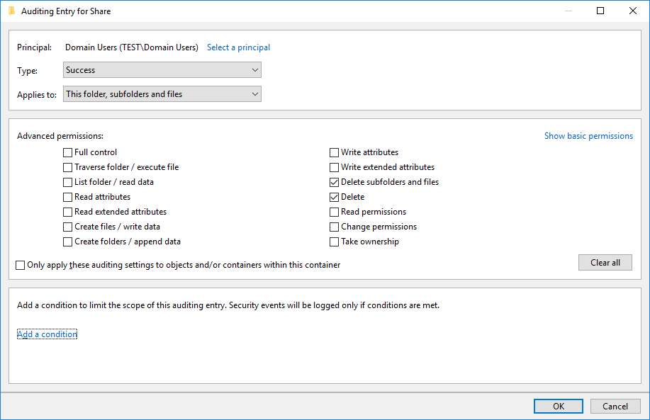 windows audit policy permissions