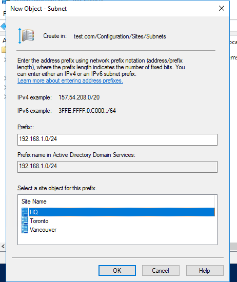 configure active directory sites and subnets