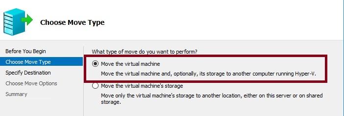 hyper v migration virtual machine