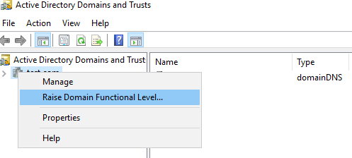 change forest functional level