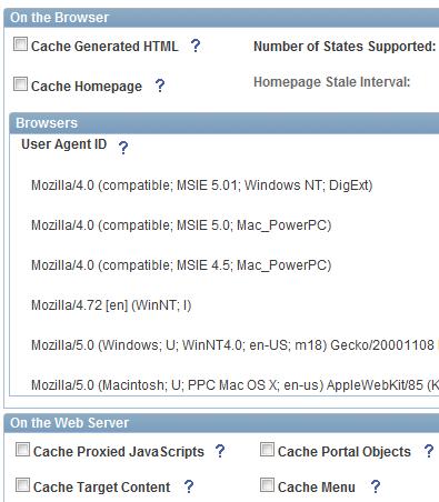 PeopleSoft Web Profile Configuration Settings