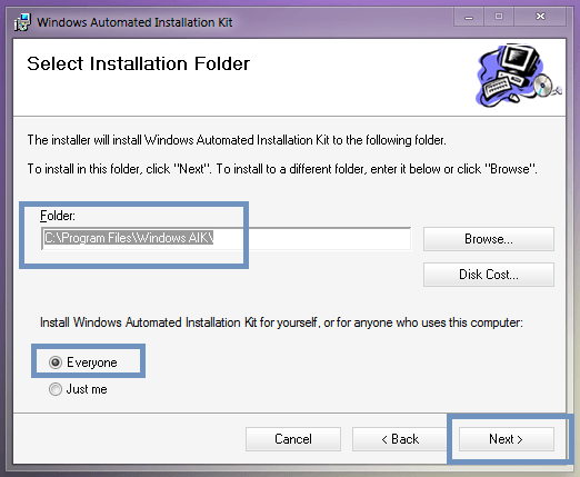 "Waik ""Select Installation Folder"""