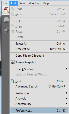 Adobe Reader X Preferences