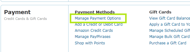 Amazon.com - Manage Payment Options