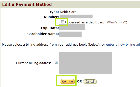 Amazon - Process as debit card