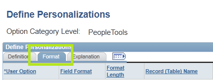 Personalization Options Format