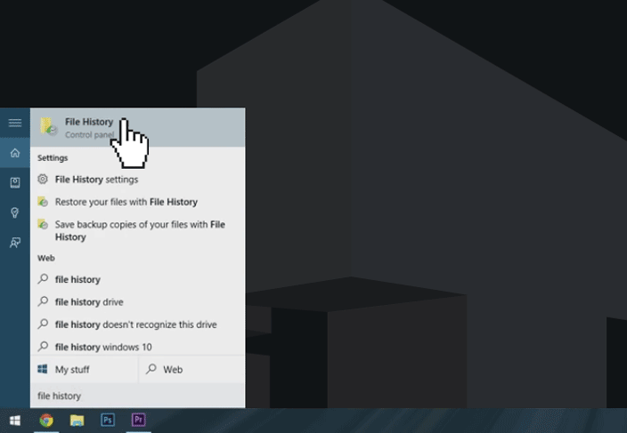 windows 10 file history start menu