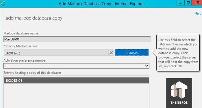 add mailbox database