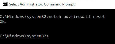 netsh advfirewall reset cmd