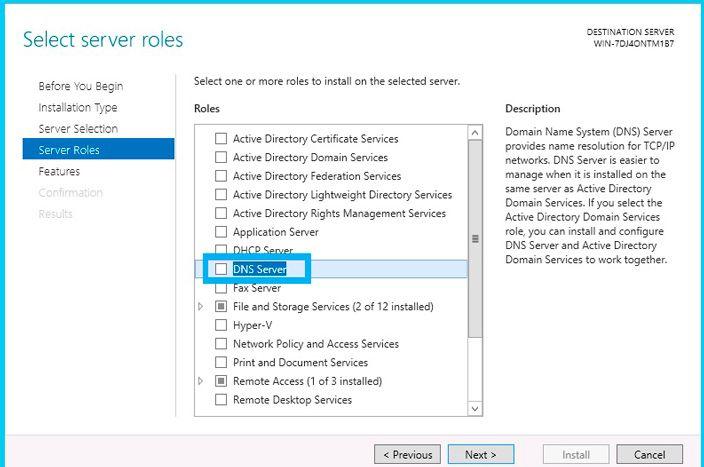 select server roles dns